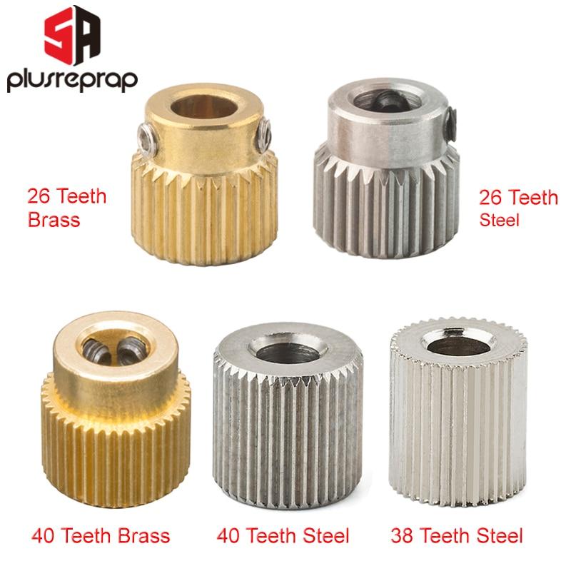 Engranaje de extrusión Mk7 MK8 26/38/40 dientes de diente de latón o acero inoxidable engranaje impulsor rueda de engranaje de alimentación para extrusora de impresora 3D