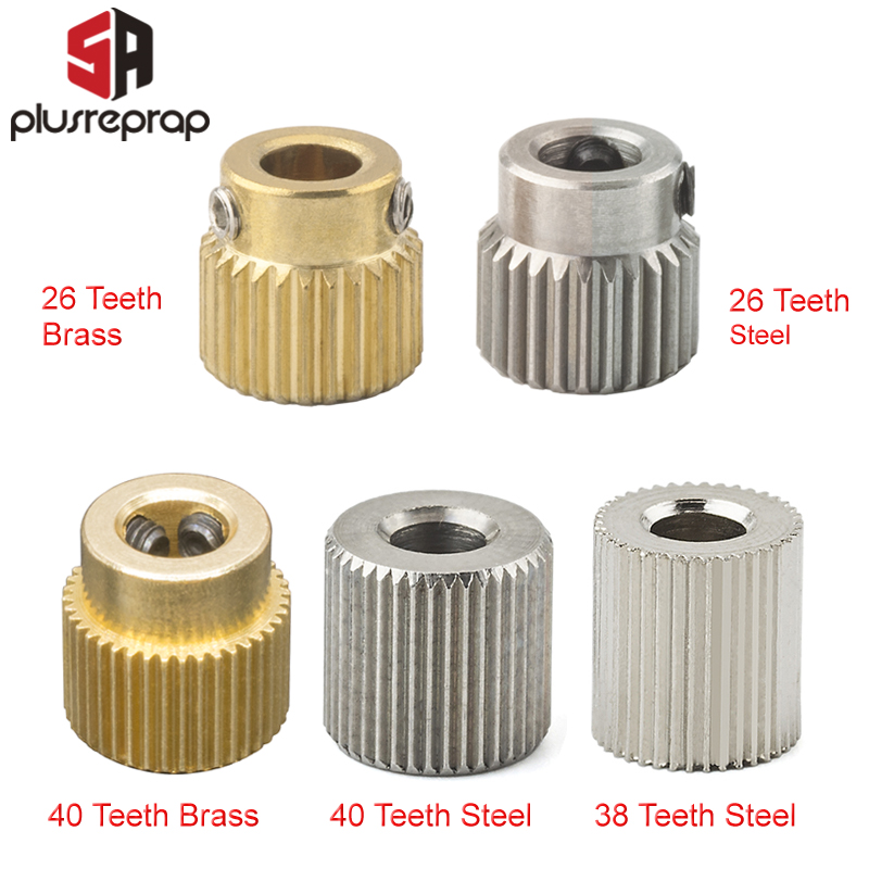 Mk7 MK8 Extrusion Gear 26/38/40 Tooth Teeth Brass Or Stainless Steel Drive Gear Feeding Gear Wheel For 3D Printer Extruder