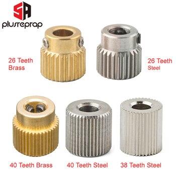 цена на Mk7 MK8 Extrusion Gear 26/38/40 Tooth Teeth Brass or Stainless Steel Drive Gear Feeding Gear Wheel for 3D Printer Extruder