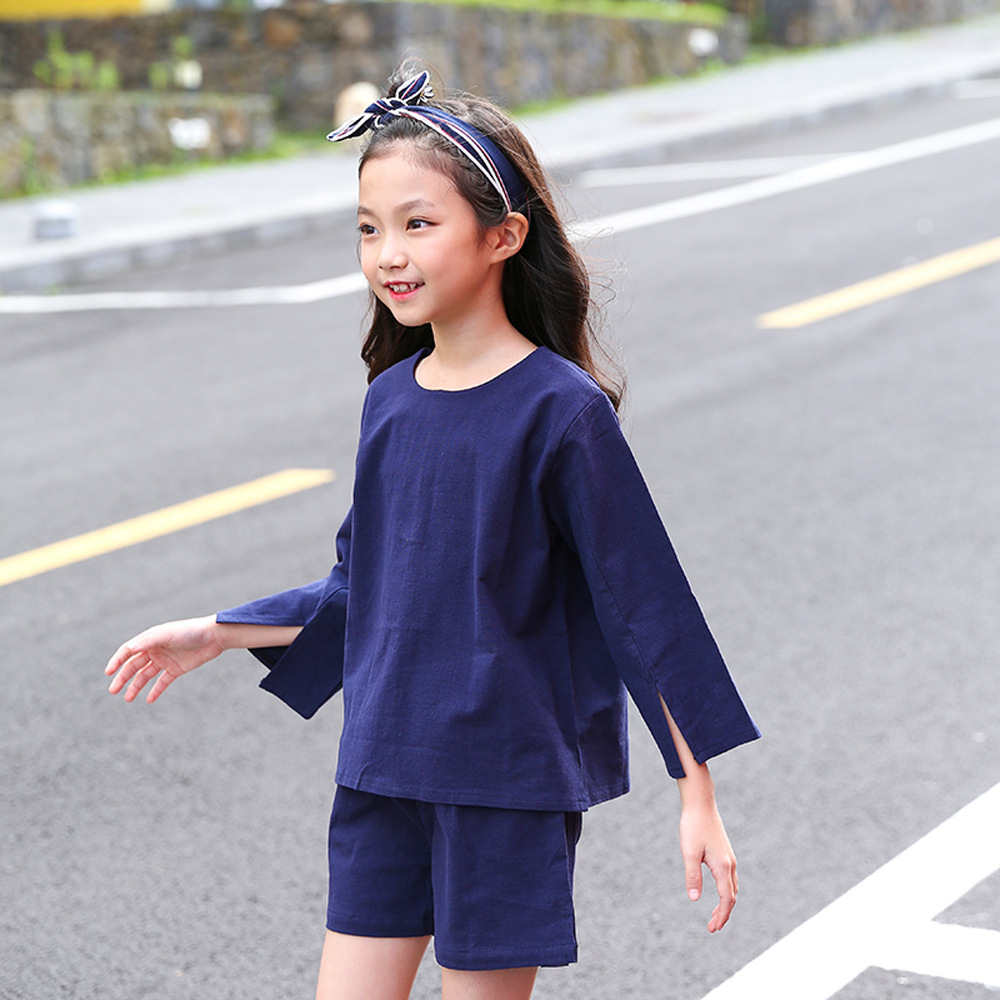 New 2018 Baby Cotton Sets Kids Summer Suits Girls Tops and Shorts Children Three Quarter Tee Shirt Trousers,2594