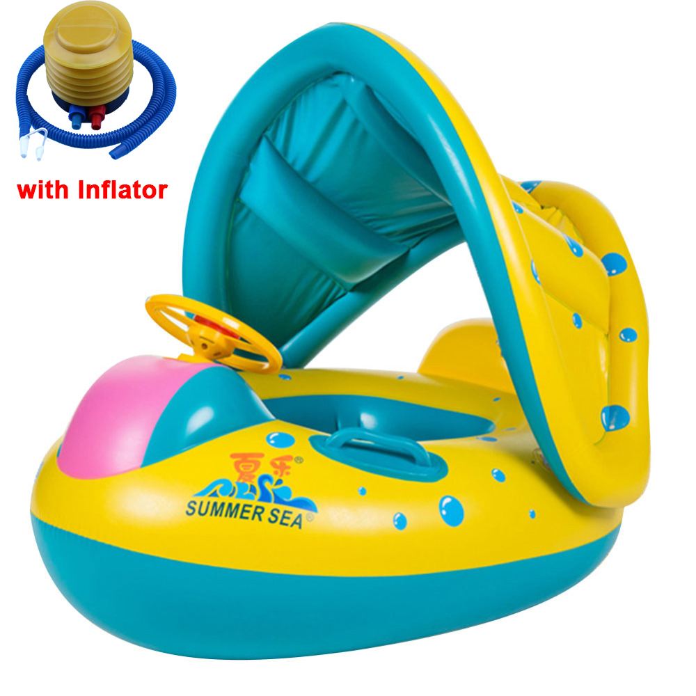 3-6Y Kids Baby Summer Swimming Pool Shade Swimming Ring Inflatable Swan Swim Float Water Fun Pool Toys Swim Ring Seat Boat Sport