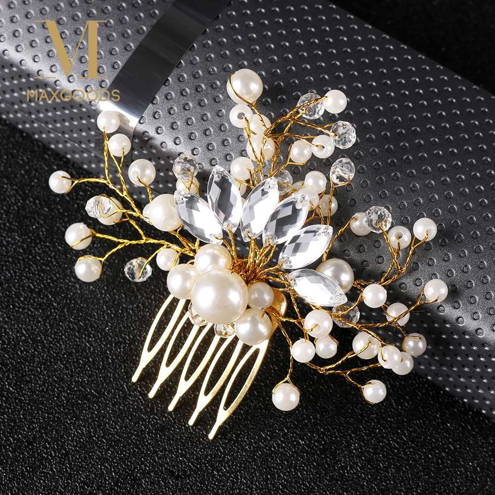 Crystal Crown Bride Bridesmaid Pearl Hair Combs for Women Hair Pin Rhinestone Tiara Bridal Clips Party Wedding Hair Accessories