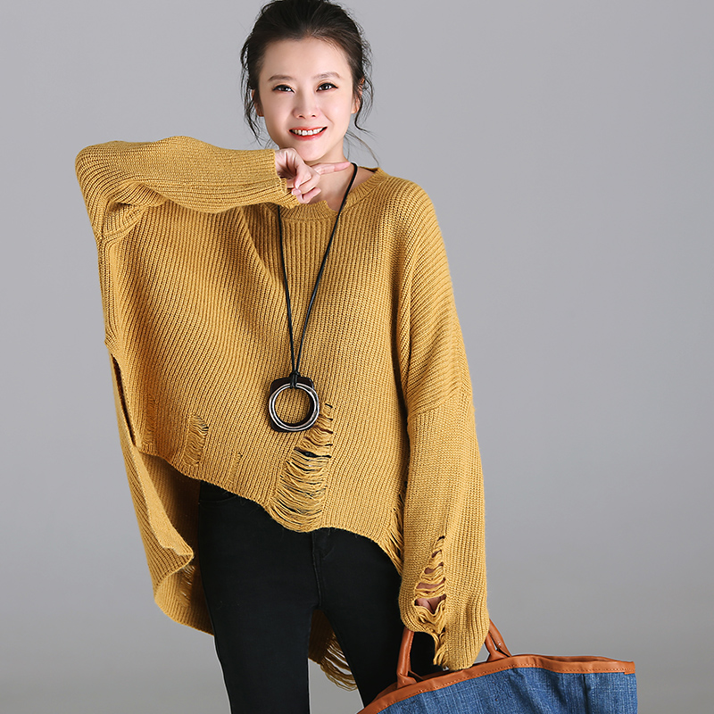 M3350 Art size: loose and casual open hole with A front short back long bat long-sleeve sweater