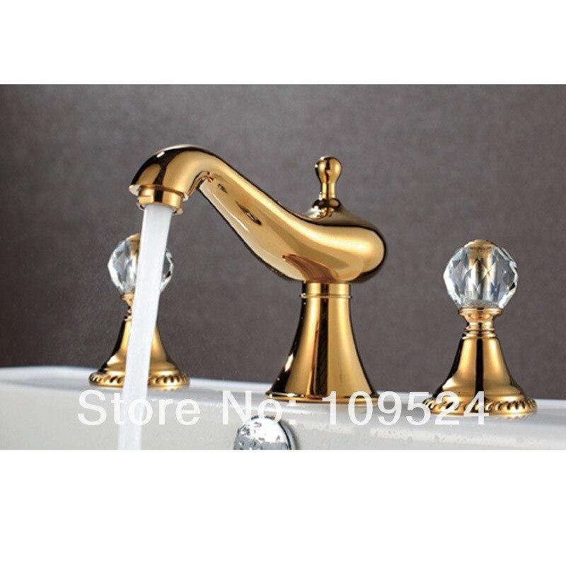 Золотой Цвет 3 штуки широкая Туалетная Раковина Водопад кран в римском стиле