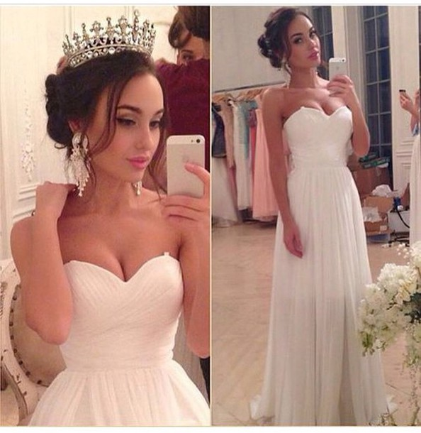 Hot Sale Summer Beach Wedding Dresses 2015 Sweetheart Backless Zipper White Chiffon Long Vestidos De Novia in Wedding Dresses from Weddings Events