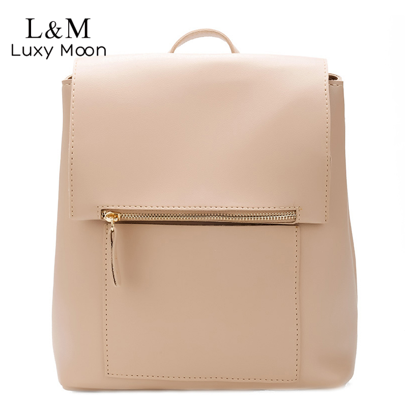 Backpack Women 2018 Fashion PU Leather School Bag For Teenage Girls Shoulder Bags Simple Solid Soft Backpacks Female Zipper XA15 mara s dream 2018 backpack simple style women pu leather backpacks for teenage girls school bags vintage solid shoulder bag