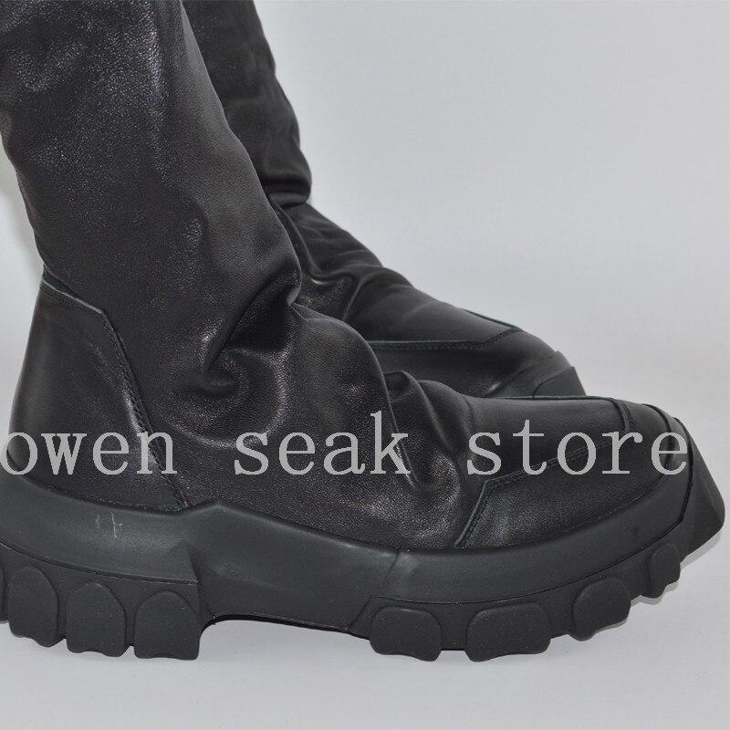 Owen Seak Mannen Schoenen Knie Hoge Laarzen Schapenvacht Lederen Luxe Trainers Winter Laarzen Casual Flats Schoenen Zwart Grote Sneakers op  Groep 3
