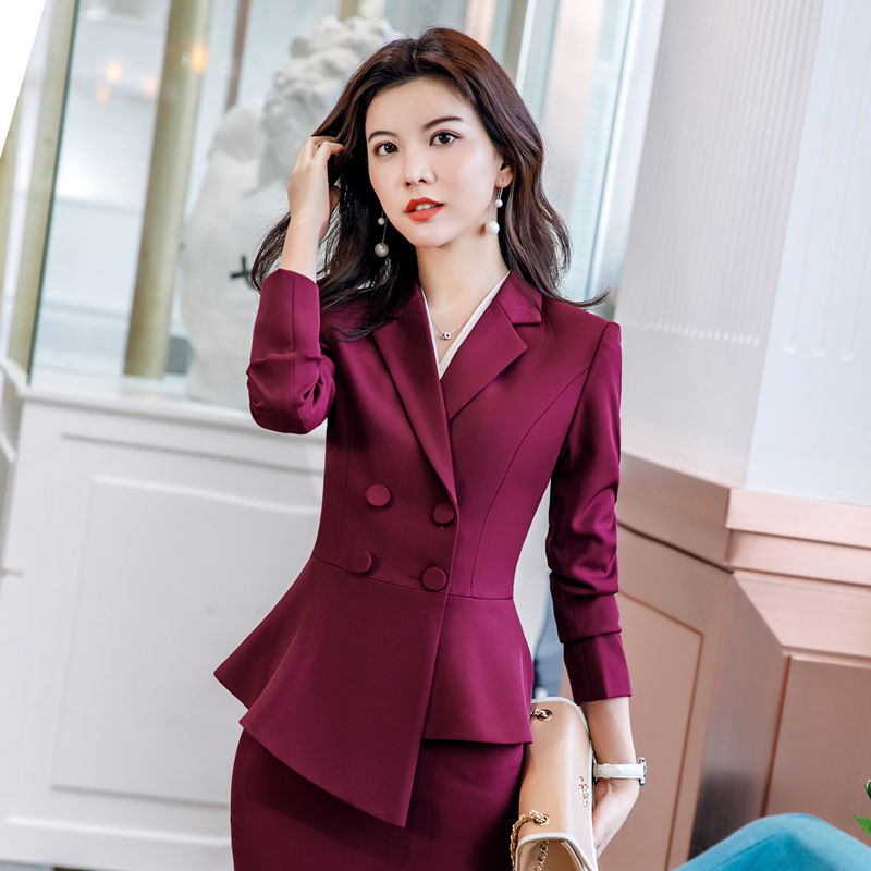 2019 Spring Autumn Women Red Elegant Office Lady Jacket Work Suit Casual Slim Ruffled Double Breasted Blazer Solid Skirt Suit