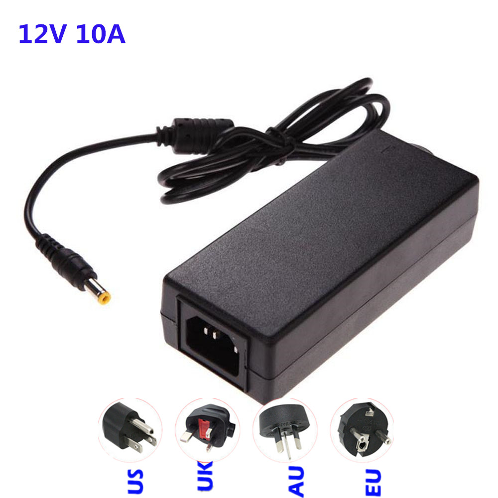 led power supply adapter transformers for led strip 5050 3528 5630 3014 AC110-240V to DC12V10A 120W with EU AU UK US plug 10a 120w dc power transformers 12v 10a 120w ac100 240v s 120 12 led drive switc power supply adapter for rgb led strip 12v10a