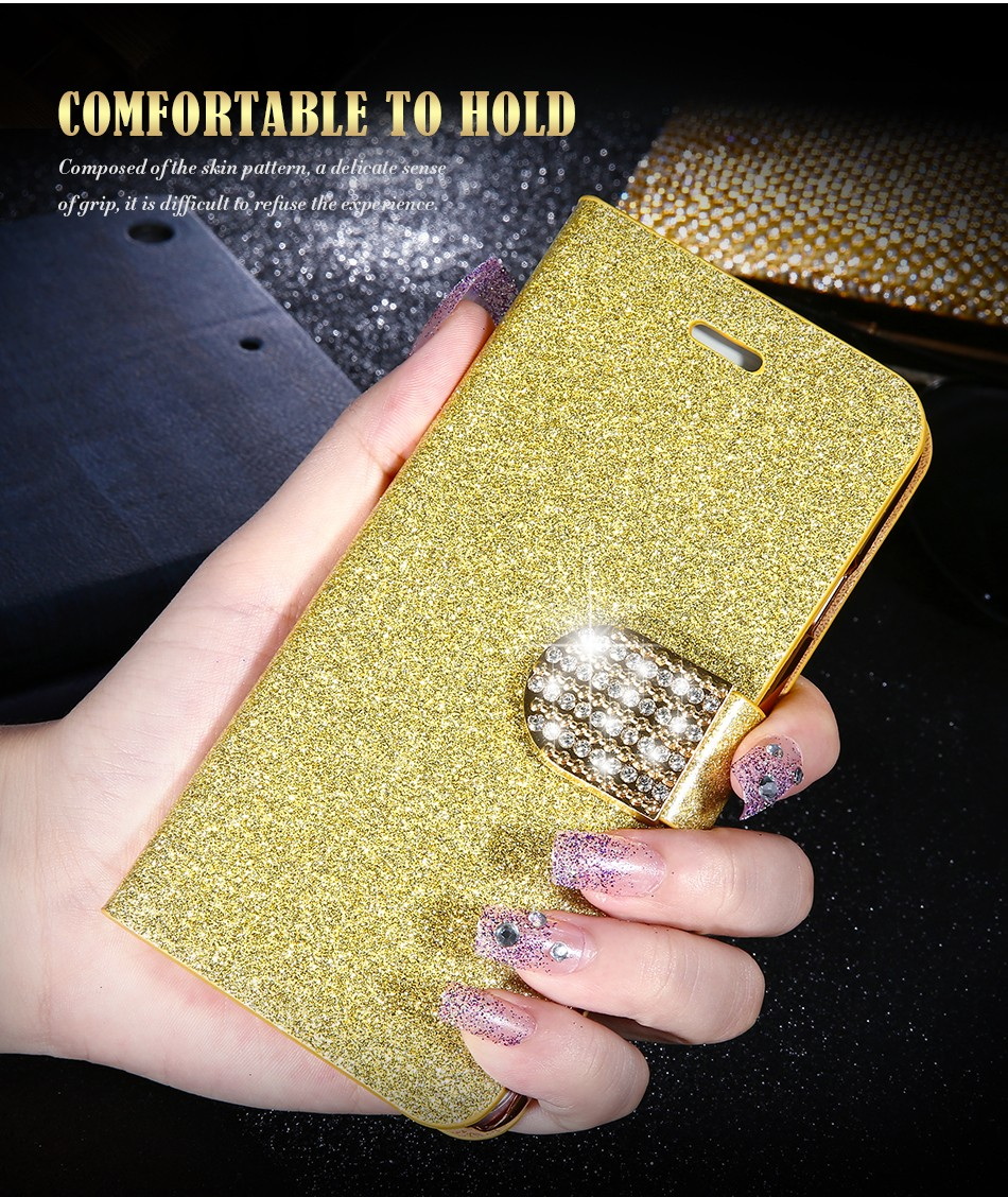 FLOVEME Luxury Bling Diamond Glitter Flip Case for Apple iphone 6 6S 7  Plus 5.5 Leather Girl Bag Wallet Stand Rhinestone Cover (6)