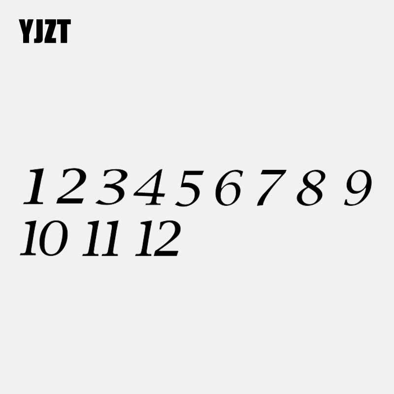 YJZT 16,7 см * 4,2 см Набор номеров часов 1 2 3 4 5 6 7 8 9 10 11 12 Автомобильная Наклейка Виниловая наклейка черный/серебристый C3-1149