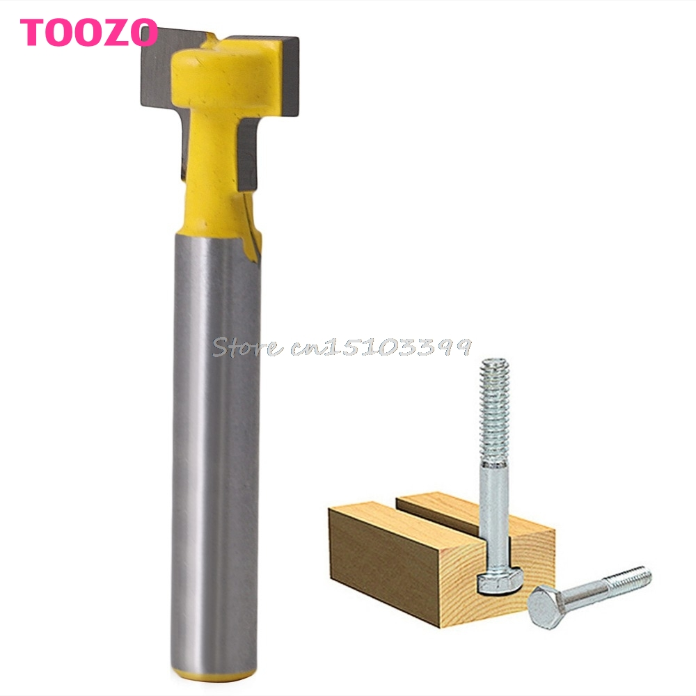 1/2'' T-Slot Cutter Steel Handle Milling Router Bit 1/4'' Shank For Woodworking G25 Drop Ship high grade carbide alloy 1 2 shank 2 1 4 dia bottom cleaning router bit woodworking milling cutter for mdf wood 55mm mayitr