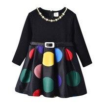 HI&JUBER 2019 New Kids Girls Dress Dot Pattern Long Sleeve Cotton Princess Belt Necklace Girl Baby Clothes Autumn