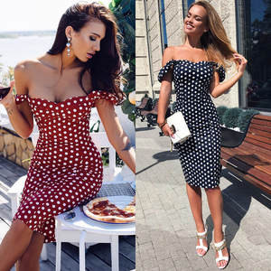 Feitong Mini Dress Evening-Party-Short Bodycon Off-Shoulder Dot Printed Women's May Vestidos