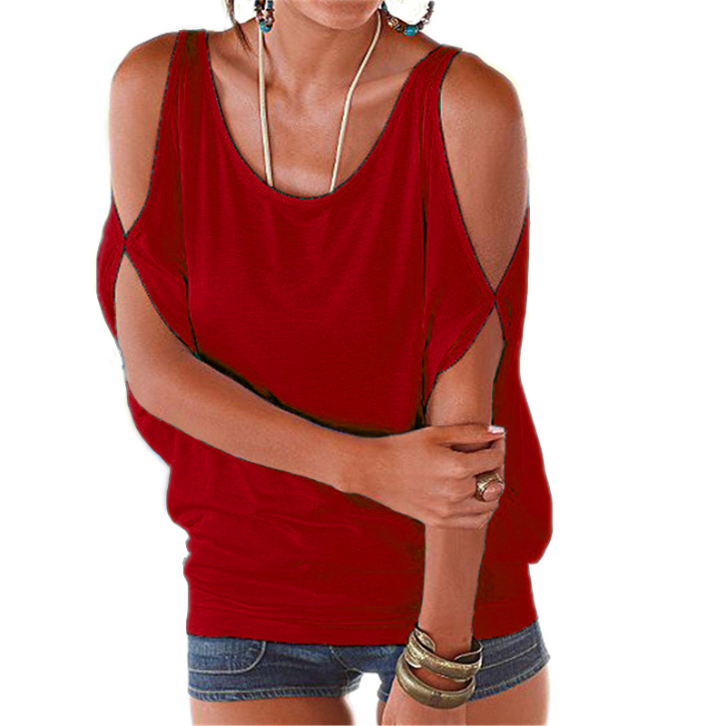 Mujeres De Camisa Top random Gasa Mujer Casual Hombro Verano El Bts Tops Blusa Las Color Black 2018 Estilo white gray Tamaño Tee Europeo Camisas red Plus ZwvxfqFWA8