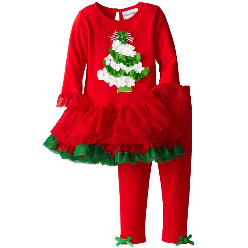 New Fashion Santa Suit Girl Christmas Suit Long Sleeve T-shirt + Pants 2pcs Infant Christmas Pajamas Set Kids Christmas Suit