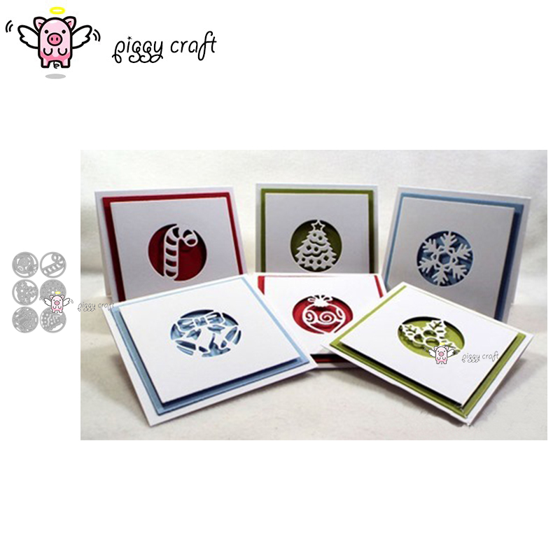 Piggy Craft Metal Cutting Dies Cut Die Mold 6Pcs Christmas Circle Scrapbook Paper Craft Knife Mould Blade Punch Stencils Dies