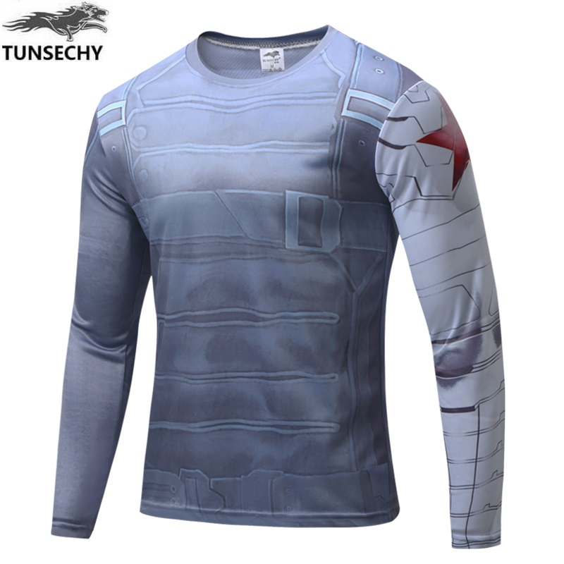 Marvel Captain America 2 costume Super Hero jersey T shirt Men USA cosplay clothing long sleeves 4XL