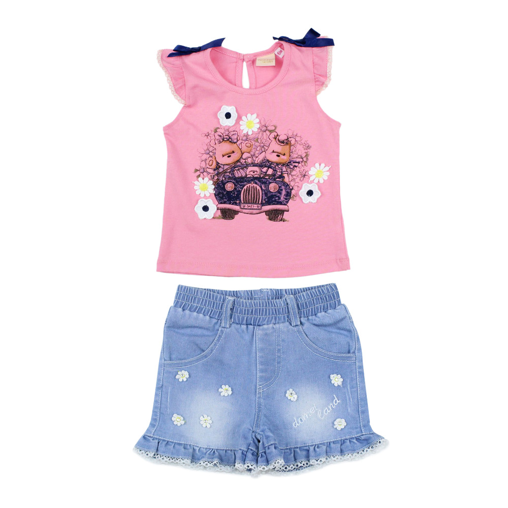 Cute baby girl clothes summer 2pcs set cotton t shirt and ...