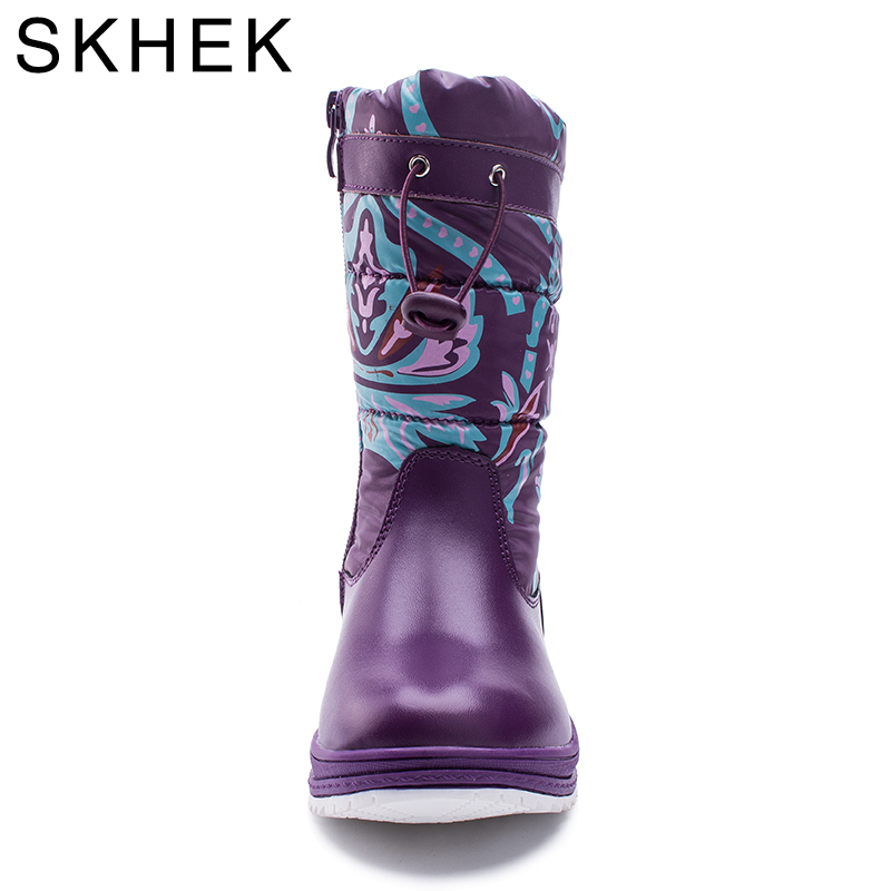 SKHEK Brand Winter Kids Flat With Snow Boots For Girls zip Plush Rubber Boots Purple Blue Black For The Russian Children