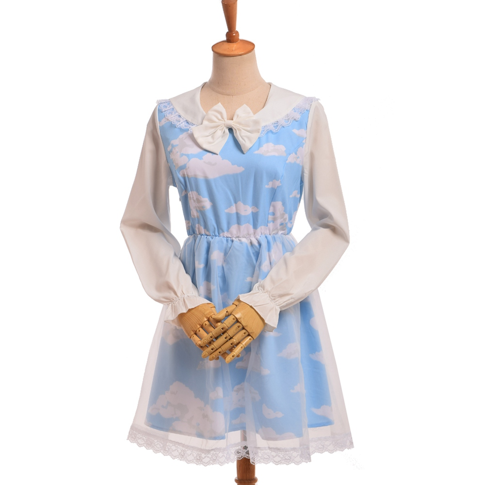 1pc Girls Lolita Blue Sky White Cloud Organza Dress Sailor Collar White Bow Double Layers Dress