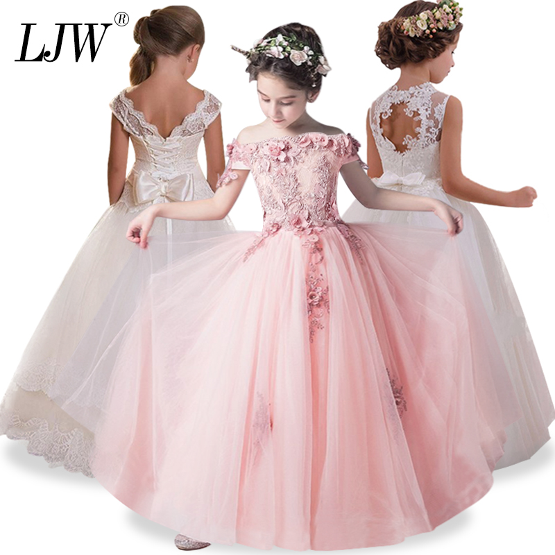 2018 Tulle Lace Infant Toddler Pageant White Flower Girl Dresses for Weddings and Party First Communion Dresses For Girls ywhuansen 2018 new rainbow cotton skirt sequin embroidery baby girl skirt cute rabbit princess kid clothes tutu skirt tulle pink