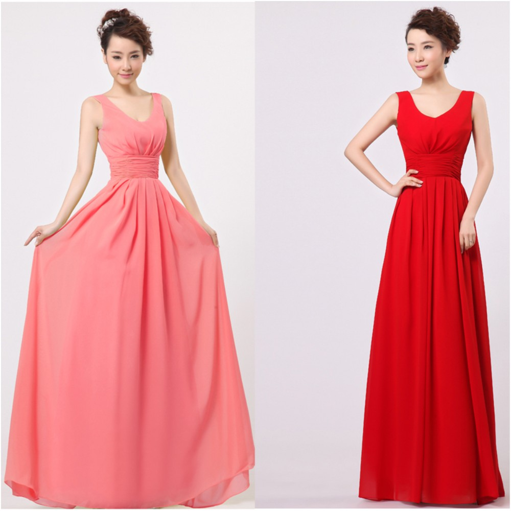 Fast delivery bridesmaid dresses promotion shop for promotional double shoulder v neck waist band fold solid color long chiffon simple bridesmaid dresses fast delivery ombrellifo Image collections