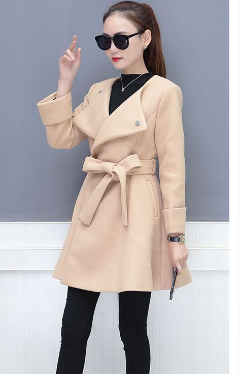 2019 spring cloth coat long waist woolen coat loose top with belt tweed coats women solid design clothes outwear long sleeve top in Wool amp Blends from Women 39 s Clothing