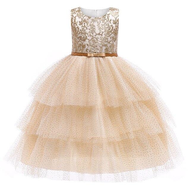50051d8b55d8 European American child new year lace dress high quality girls gorgeous princess  dress gold silver lace shining wedding dress