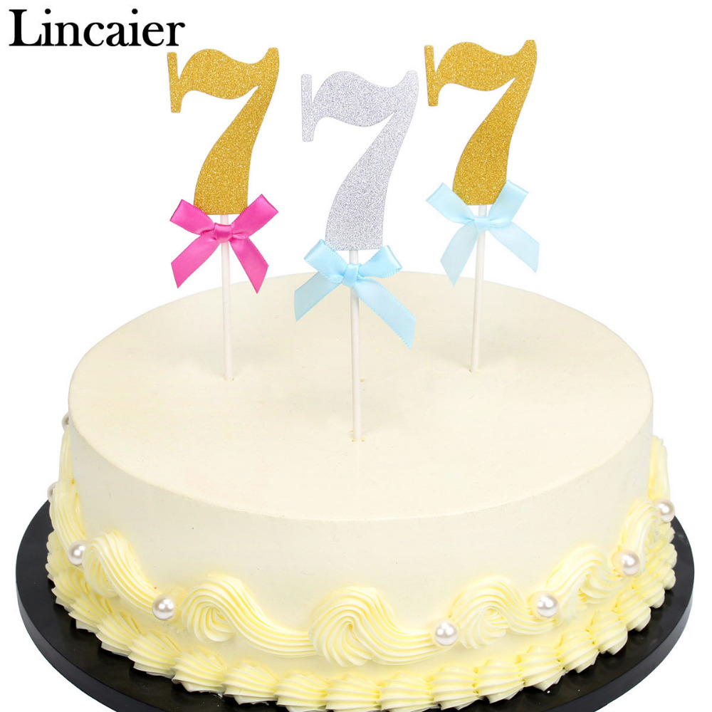 Lincaier 6 Pieces 7 Year 7th Birthday Cake Cupcake Toppers I AM Seven Seventh Boy Girl Party Decorations Anniversary Gold Paper In Decorating Supplies