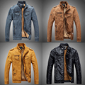 Vintage Motorcycle Leather Jacket Men Winter Warm Pu Leather Biker Jacket Male Faux Fur Lined Coat Blue Khaki Yellow Black