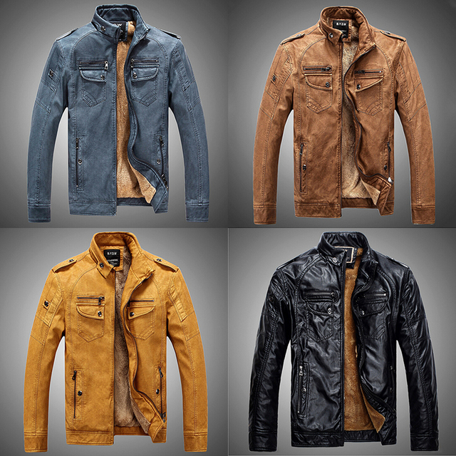 Vintage Motorcycle Leather Jacket Men Winter Warm Pu Leather Biker Jacket Male Faux Fur Lined Coat Blue Khaki Yellow Black