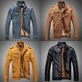 Vintage de cuero de la motocicleta chaqueta de los hombres calientes del invierno de la pu chaqueta de motorista de cuero masculino faux forrada de piel abrigo azul de color caqui negro amarillo