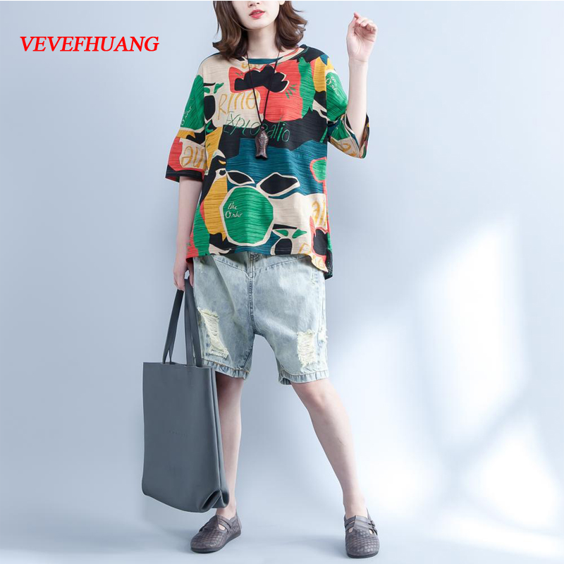 Plus Size Summer Vintage Women Tops Round Neck Colorful Print Female Tee Shirt Short Sleeve Cotton Casual Loose T-Shirt