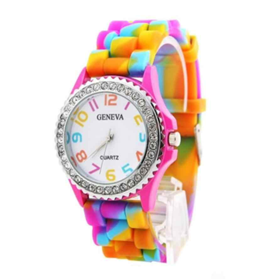 Timezone  401 Duobla Новый Женева Радуга Кристалл Rhinestone часы  силиконовые желе звеньев платье Для женщин b6af5db805eb8