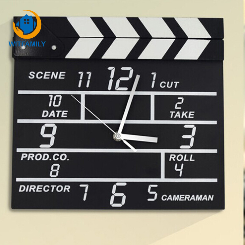 Vintage Black Notepad Wooden Wall Clock Modern Home Decor Clapper Film Movie Set Clock Wall Clock Electronic Mute Hanging Clock