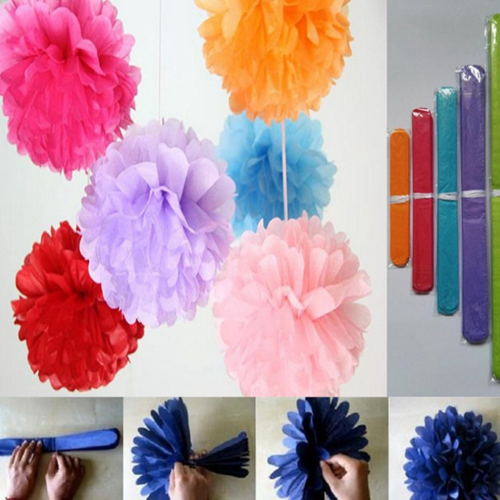1 unids 20 cm artificial Papel Tissue Pompón Pompón Bolas de Flores para el Hoga