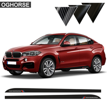 2Pcs Car Styling M Performance 5D Carbon Vinyl Side Racing Stripes Skirt Sill Decals Stickers for BMW X6 F16 F86 SUV Accessories 2pieces skirt sill side skirt decals stickers for bmw x5 f15 f85 2014 2016 racing stripe m performance sticker 5d carbon fibre