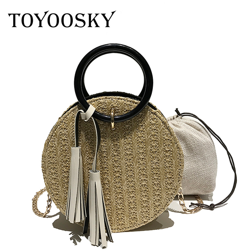 TOYOOSKY 2018 Women Handmade Round Beach Shoulder Bag Circle Straw Bags Summer Woven Rattan Handbags Women Messenger Bags цена