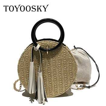 TOYOOSKY 2018 Women Handmade Round Beach Shoulder Bag Circle Straw Bags Summer Woven Rattan Handbags Women Messenger Bags
