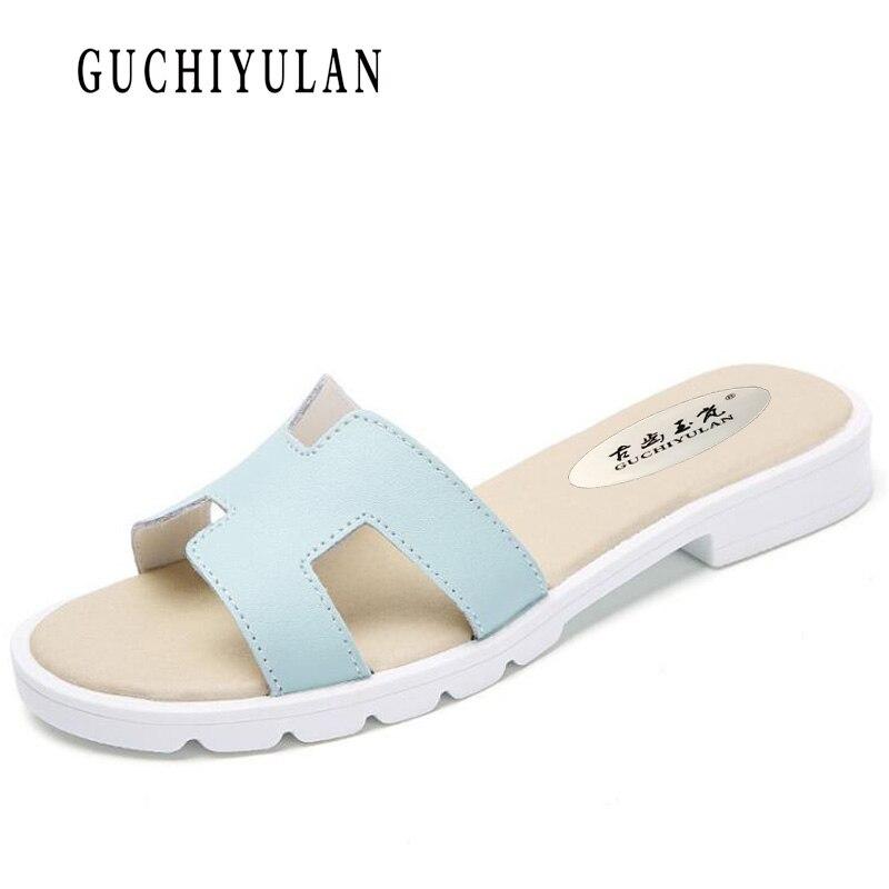 sandalias mujer 2018 planas Summer Casual Women Genuine leather Flat Sandals women cow Platform Ladies Beach Shoes Flip Flops