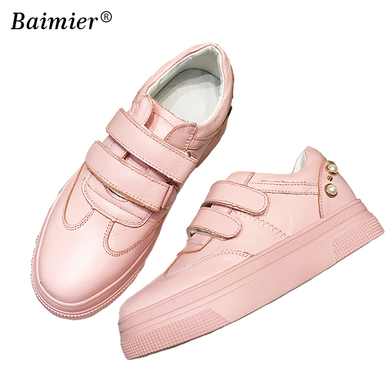2018 New Spring Autumn Casual Shoes Women Flats Platform Sneakers Real Leather Beading Soft Comfortable Shoes Sapato Feminino new 2018 spring summer shoes women flats soft leather fashion women s casual brand shoes breathable comfortable