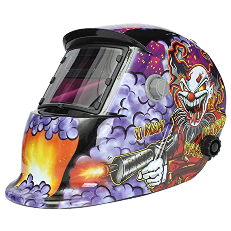 Welding Mask Hood Welding Helmet Solar Automatic(Solar Power For Recharge) Face Protection (Clown + Pistol)