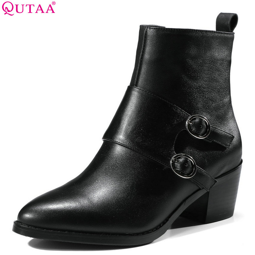 QUTAA 2019 Casual Women Ankle Boots Cow Suede Cow Leather +Pu All Match Winter Shoes Women Motorcycle Boots Big Size 34-39 orient часы orient qcbb004w коллекция lady rose