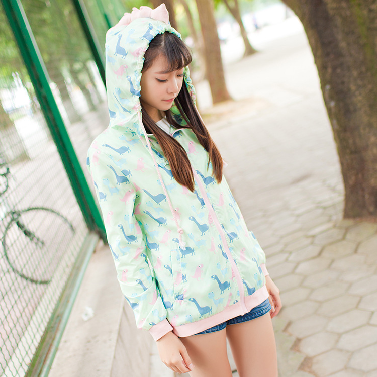 Dinosaurs Print Sport Full sleeve Thin Zip up Hoodie Sweet Lolita Jacket Kawaii Hoodies Women Soft Cute Japanese Girls Anorak Спортивный бальный танец