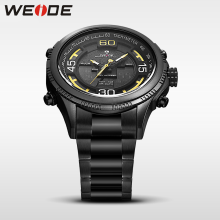 WEIDE genuine luxury sport watch stainless steelin quartz LCD watches water resistant analog army  clock men automatic self-wind