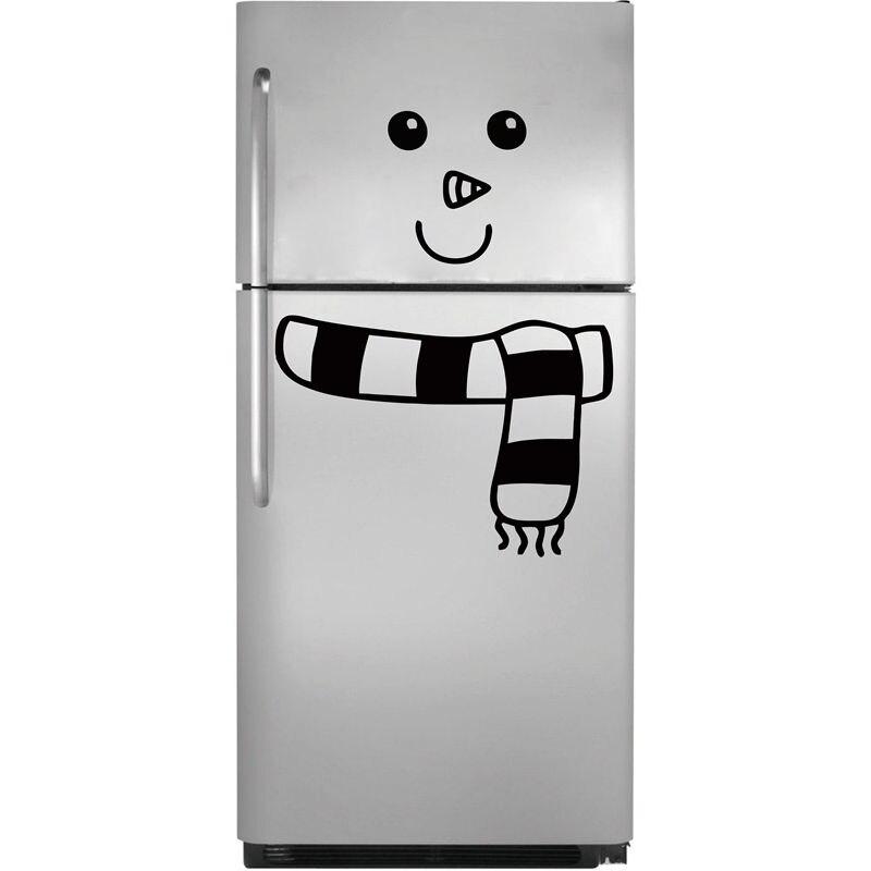 Nouveau Style Bonhomme De Neige Réfrigérateur Sticker Vinyle Art Autocollants Mignon de Bande Dessinée Réfrigérateur Décor