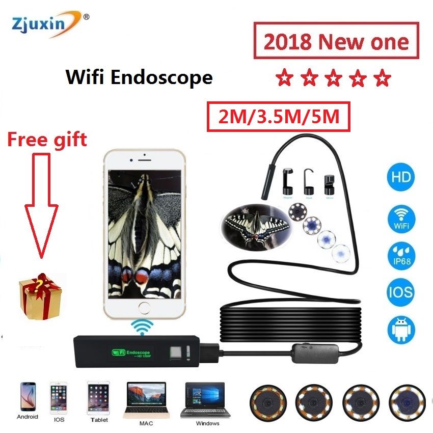 WIFI Endoscope New Camera 8mm HD Lens 2M/3.5M/5M USB Iphone Android endoscope Tablet Wireless Endoscope wifi softwire