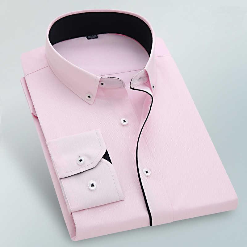 MACROSEA nueva llegada diseño especial cuello de botón línea negra camisa de vestir camisa Formal de negocios para hombres botones blancos de Color sólido