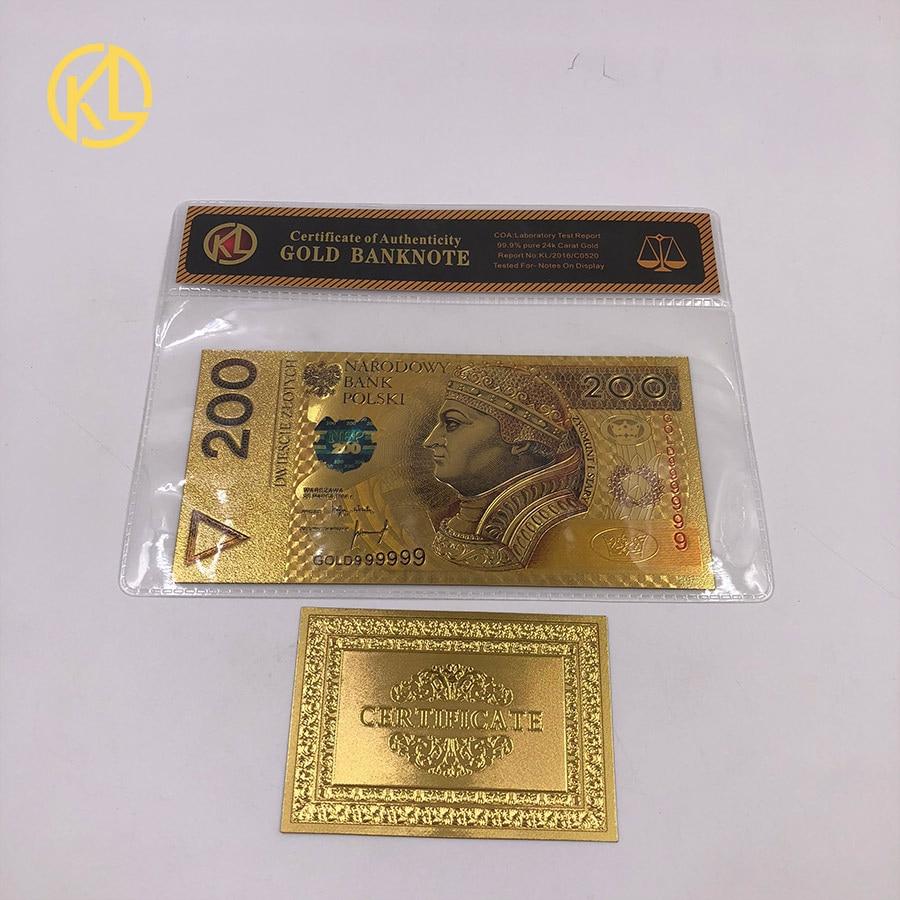 1 шт. unised 1994 Edition Poland Currency designed цветной 24 K позолоченный банкнот 500 PLN для банка подарочные сувениры - Цвет: Прозрачный
